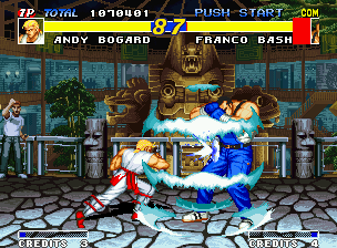 Real Bout Fatal Fury Neo Geo Franco Bash finds some difficulty for blocking Andy's Geki Hishoken, but he got to find a way...