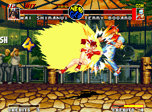 Real Bout Fatal Fury Neo Geo Using a cute swimsuit, Mai wastes a big power to Terry through her hyper move Leptard Shinobibachi.