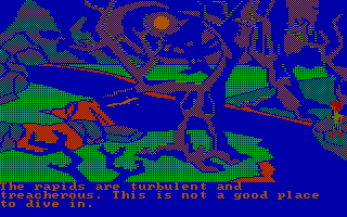 The Black Cauldron PC Booter A spooky forest with a treacherous river (CGA with RGB monitor)