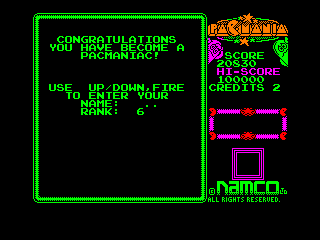 Pac-Mania Amstrad CPC Name Entry