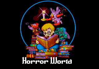 "The Pagemaster Genesis ""Horror World"" intro screen."