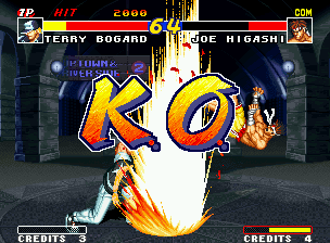 Real Bout Fatal Fury Neo Geo Doing a Power Geyser, Terry wins the 1st round of his battle against Joe: let the Round 2 begins!