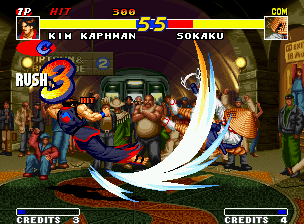 Real Bout Fatal Fury Neo Geo After be made Kim's Hienzan, you can add a extra hit to it doing a single Tensouzan (DOWN + B): yup!