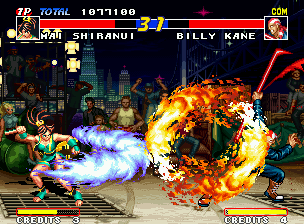 Real Bout Fatal Fury Neo Geo Testifying a fire-shocking clash between Mai's Ryu En Bu and Billy's Ultra Flame Whirlwind Pole.