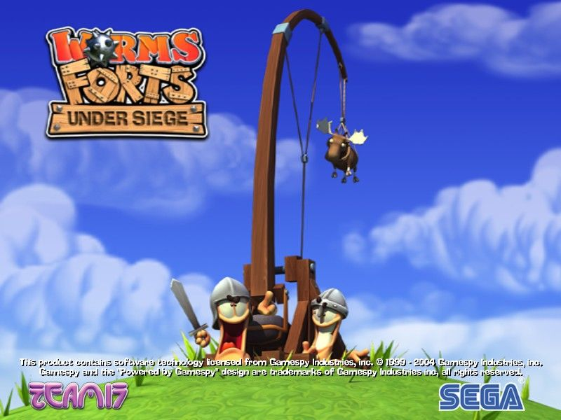 Worms Forts: Under Siege Windows Title Screen