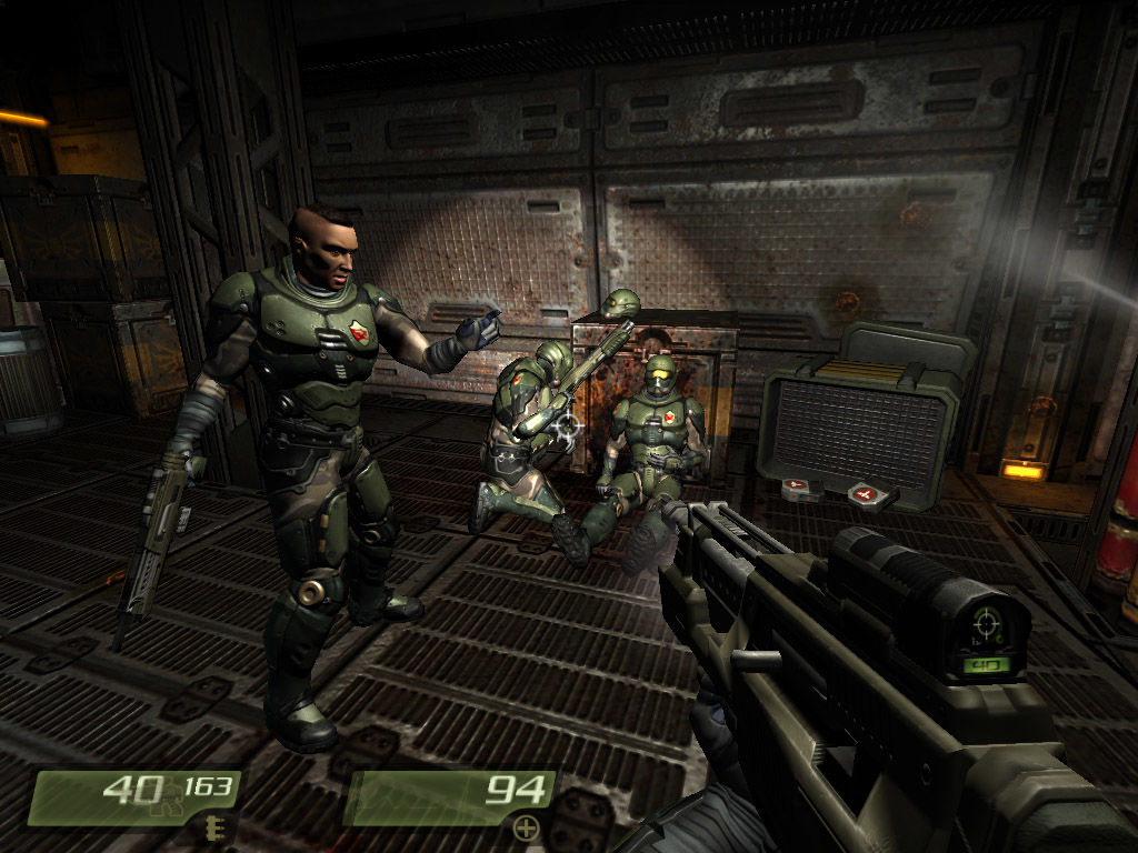 Quake 4 Windows Regrouping with a squad of marines