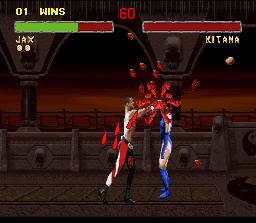 Mortal Kombat II SNES Using his popping-head Fatality, Jax crumbles Kitana's head completely!