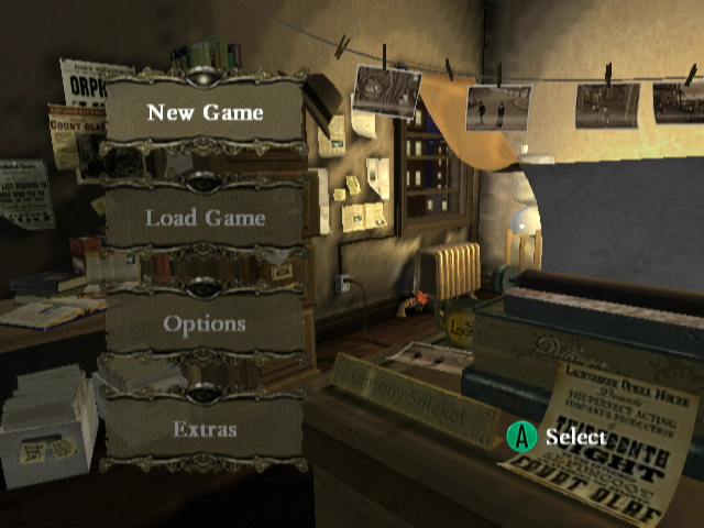 Lemony Snicket's A Series of Unfortunate Events GameCube Main Menu