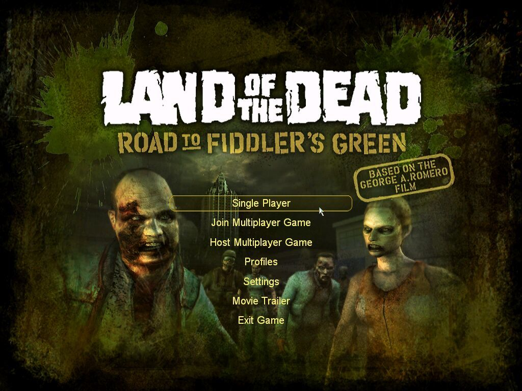 Land of the Dead: Road to Fiddler's Green Windows Title Screen and Menu