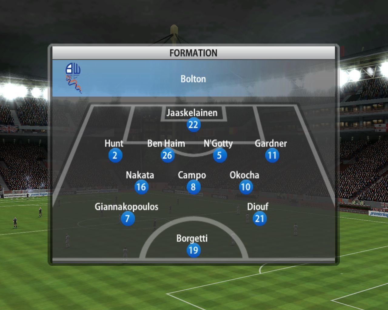 FIFA Soccer 06 Windows Squad formation