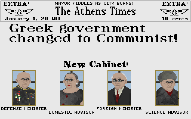 Sid Meier's Civilization DOS The look of your advisers changes depending on your type of government