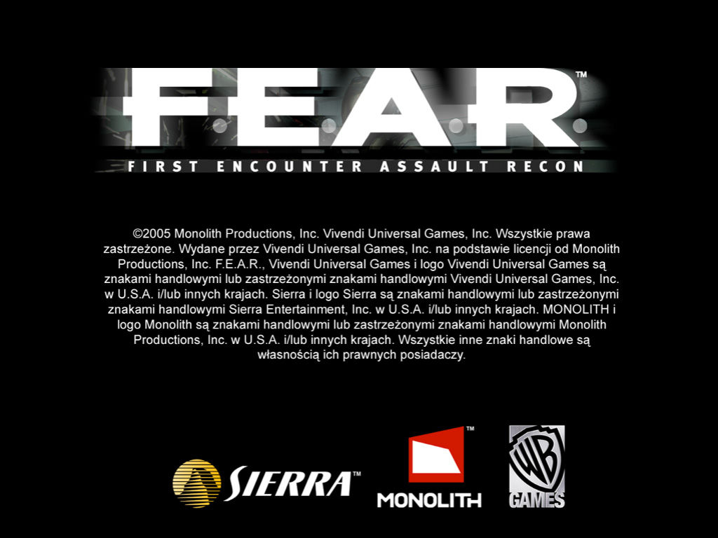F.E.A.R.: First Encounter Assault Recon Windows Title screen.