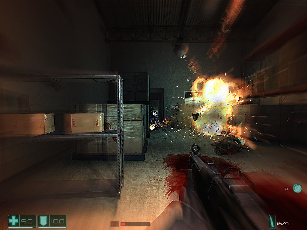 F.E.A.R.: First Encounter Assault Recon Windows Explosive barrels helps when fighting with an enemy.