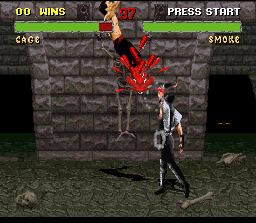 Mortal Kombat II SNES Smoke comes to fight now and his first move is a bloody uppercut in Johnny Cage!