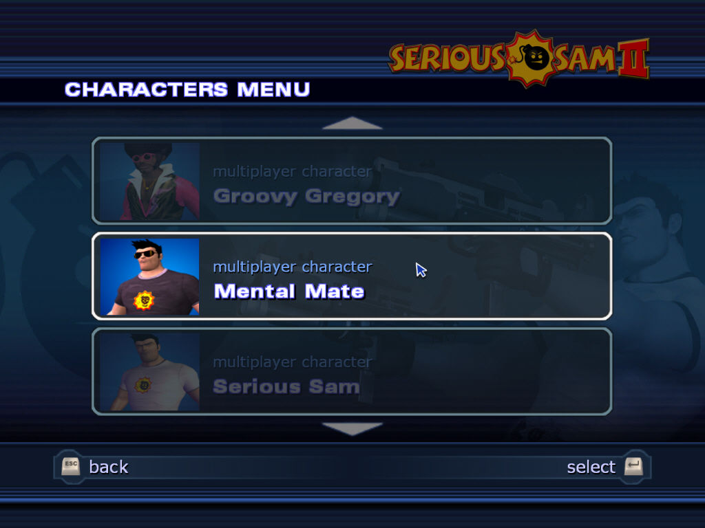 Serious Sam II Windows Character model selection screen. You can pick a groovy guy with an afro hairstyle if you like.