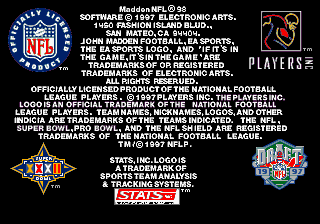 Madden NFL 98 Genesis Legal information