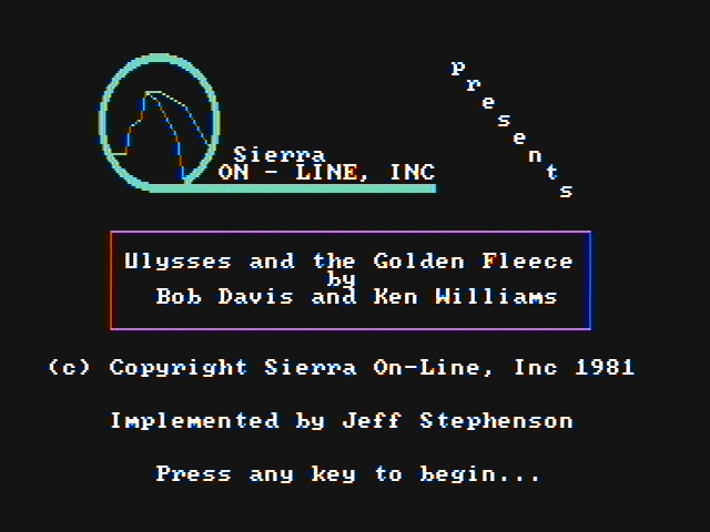 Hi-Res Adventure #4: Ulysses and the Golden Fleece PC Booter Title screen (CGA with composite monitor)