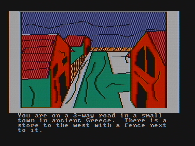 Hi-Res Adventure #4: Ulysses and the Golden Fleece PC Booter Beginning the game in a town... (CGA with composite monitor)