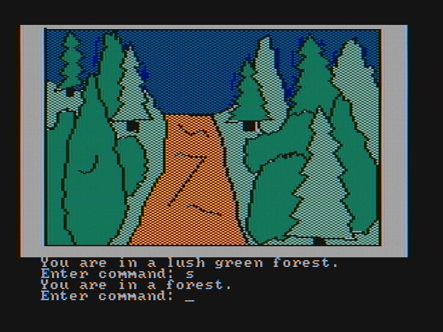 Hi-Res Adventure #4: Ulysses and the Golden Fleece PC Booter I am in a lush forest (CGA with composite monitor)