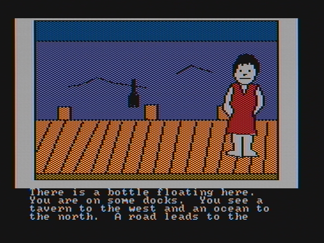 Hi-Res Adventure #4: Ulysses and the Golden Fleece PC Booter On a dock; there is a bottle here! (CGA with composite monitor)