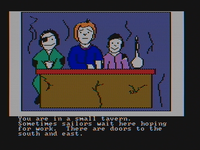 Hi-Res Adventure #4: Ulysses and the Golden Fleece PC Booter Visiting a small tavern (CGA with composite monitor)