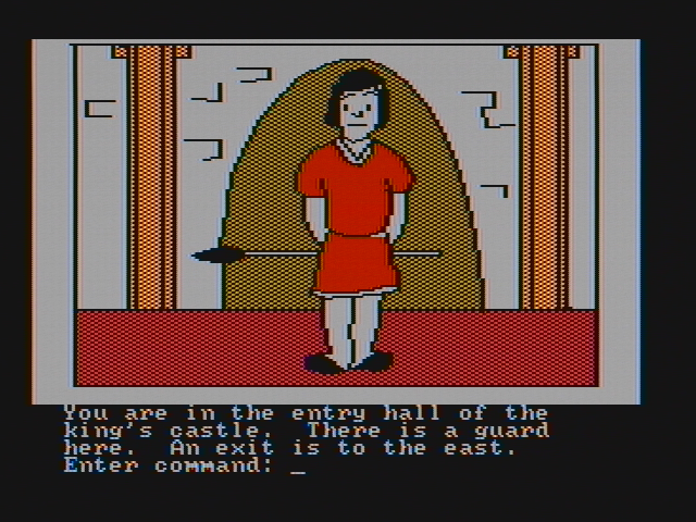Hi-Res Adventure #4: Ulysses and the Golden Fleece PC Booter A guard is blocking the castle entrance (CGA with composite monitor)