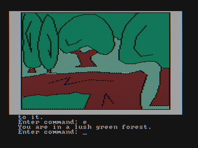 Hi-Res Adventure #4: Ulysses and the Golden Fleece PC Booter In a forest near the town (CGA with composite monitor)