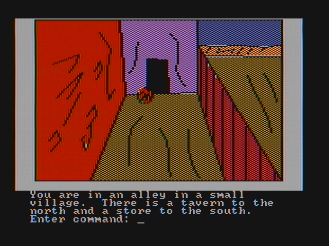 Hi-Res Adventure #4: Ulysses and the Golden Fleece PC Booter An alley; obvious exits are north and south (CGA with composite monitor)
