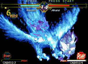 The Last Blade Neo Geo Beware: Hyper Kagami's SDM Konpeki no Mokin is a powerful non-stop diving attack!