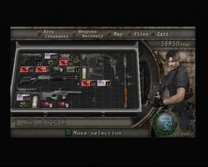 Resident Evil 4 PlayStation 2 Leon's inventory... you can buy bigger suitcases from vendors