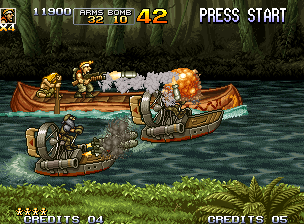 Metal Slug 5 Neo Geo Later, Marco is surrounded by two enemy hovercrafts, but he strikes back with the Enemy Chaser.