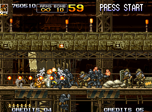 Metal Slug 5 Neo Geo Non-stop sliding action: Tarma executes the new move to avoid a row of bullets and continue firing!