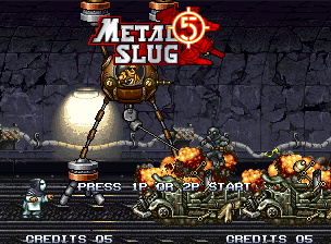 Metal Slug 5 Neo Geo Demonstration mode – Tarma discharges Spider Slug's harpoon and smashes a row of enemy trucks.