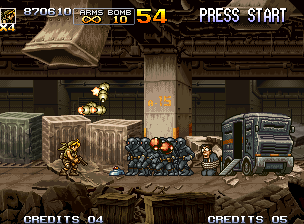 Metal Slug 5 Neo Geo What to do when your way are locked by a enforced van and several armed diving-cloth-style soldiers?