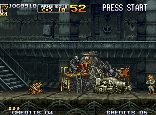 Metal Slug 5 Neo Geo Eri approaches until some soldiers that are repairing a Slug Gunner (a Lt. inspects the works).