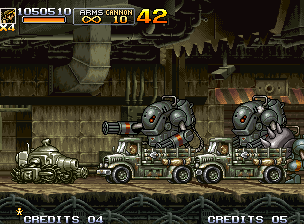 Metal Slug 5 Neo Geo Eri waits the time to fire with Slug Gunner's gun turret: the cyborg threats to do a first move...