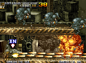 Metal Slug 5 Neo Geo After leaving off Slug Gunner, Eri spends a lot of her Dual Machine Gun to destroy some cyborgs.