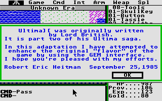 Ultima II: The Revenge of the Enchantress... Atari ST Author of conversion about the game