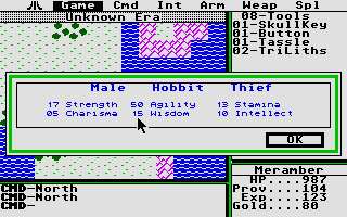 Ultima II: The Revenge of the Enchantress... Atari ST Character stats