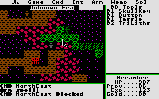 Ultima II: The Revenge of the Enchantress... Atari ST Red/dark screen - spell effects