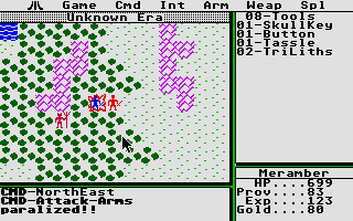 Ultima II: The Revenge of the Enchantress... Atari ST Attack - arms paralized