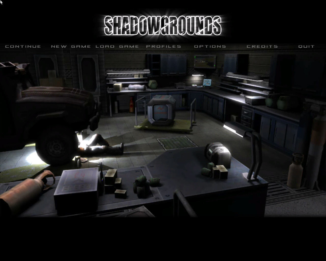 Shadowgrounds Windows Main menu.