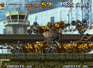 Metal Slug 5 Neo Geo In the beginning of Mission 4, Fio is suddenly surrounded by a squad of motorcycle riding soldiers.