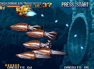 Metal Slug 5 Neo Geo Fio uses Slug Sub's gun turret aiming at to strike back any enemies that can appear suddenly...