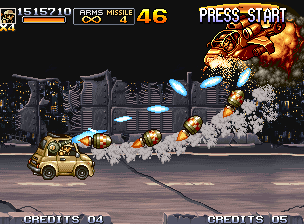 Metal Slug 5 Neo Geo Equipped with the Slug Car, Fio shoots a set of bullets and homing missiles to destroy a helicopter.