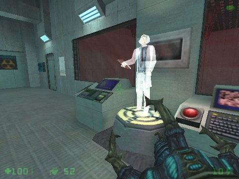 Half-Life: Opposing Force Windows A hologram that'll inform you about untested alien weapon-creature you can have, just next door.