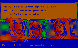 Manhunter: New York DOS Game over; let's see where I made my mistake! (CGA with RGB monitor)