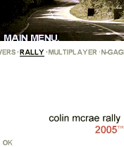 Colin McRae Rally 2005 N-Gage Main menu