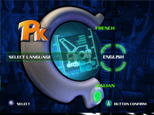 Disney's PK: Out of the Shadows GameCube Main Menu