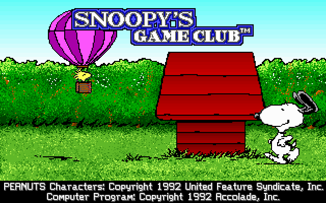 Snoopy's Game Club DOS Title screen (MCGA/VGA)